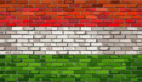 Flag of Hungary on a brick wall. Illustration Royalty Free Stock Image