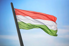 Flag of Hungary. The Hungarian flag against the background of the blue sky royalty free stock photography