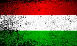 Flag of Hungary Grunge. The flag of Hungary in red, green and white stripes with grunge effect Stock Image