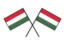 Flag of Hungary. Stylization of national banner. Simple vector illustration with two flags. Flag of Hungary. Stylization of national banner. Simple vector Royalty Free Stock Image