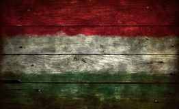 Flag hungary on wood Royalty Free Stock Photography
