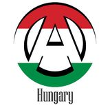 Flag of Hungary of the world in the form of a sign of anarchy stock illustration