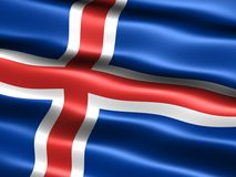 Flag of Iceland. Computer generated illustration of the flag of Iceland with silky appearance and waves vector illustration
