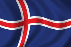 Flag of iceland. Waving in the wind Royalty Free Stock Photography