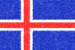 Flag of Iceland background o texture, color pencil effect. Stock Photo