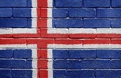 Flag of Iceland on brick wall Royalty Free Stock Images