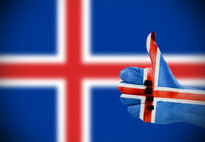 Flag of Iceland on female's hand Stock Photography