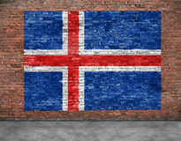 Flag of Iceland and foreground Stock Photos