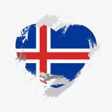 Flag of Iceland. On grunge heart. Vector illustration Stock Image