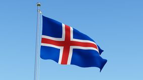 Flag of the Iceland against clear blue sky. Stock Photos