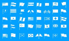 Flag icon blue set vector. Flag icon set. Simple set of flag vector icons for web design isolated on blue background Royalty Free Stock Photo