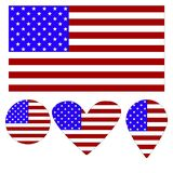 Flag Icon, Heart, Circle, a pointer, in the form of a flag of America. royalty free illustration