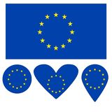 Flag Icon, Heart, Circle, a pointer, in the form of a flag of the European Union. royalty free illustration