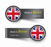Flag icon and label with text made in The United Kingdom of Great Britain . Royalty Free Stock Image