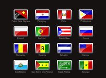 Flag icon set. Flags of Papua New Guinea, Paraguay, Peru, Philippines, Poland, Portugal, Puerto Rico, Russia, Romania, Rwanda,  Salvador, Samoa, san Marino, Sao Stock Photo
