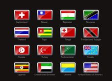 Flag icon set. Flags of Switzerland, Taiwan, Tajikistan, Tanzania, Thailand, Togo, Tonga, Trinidad and Tobago, Nunisia, Turkey, Turkmenistan, Tuvalu, Uganda Stock Photos