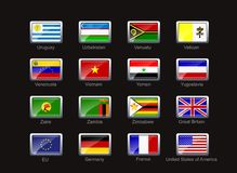 Flag icon set. Flags of Uruguay, Uzbekistan, Vanuatu, Vatikan, Venezuela, Vietnam, Yemen, Yugoslavia, Zaire, Zambia, Zimbabwe, Great Britan, EU, Germany, France Stock Images