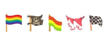 Flag icon set, cartoon style. Flag icon set. Cartoon set of flag vector icons for web design isolated on white background Royalty Free Stock Image