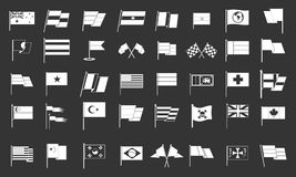 Flag icon set grey vector. Flag icon set vector white isolated on grey background Stock Images