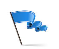Flag icon. Waving blue flag icon. Vector illustration Royalty Free Stock Photography