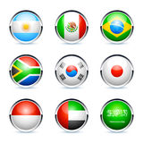 Flag icons. Circular flag icons for Argentina, Mexico, Brazil, South Africa, Korea, Japan, Indonesia, United Arab Emirates & Saudi Arabia, isolated on a white Royalty Free Stock Image