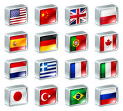 Flag icons buttons. Flag icons or buttons, can be used as language selection icons for translating web pages or region selection or similar Stock Images