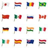 Flag icons set, cartoon style Stock Images