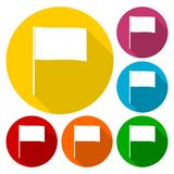 Flag icons set with long shadow. Vector icon Stock Image
