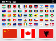 Flag icons of the world with names in alphabetical order. Set 1. Flat style. Vector illustration Stock Image