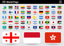 Flag icons of the world with names in alphabetical order. Set 2. Flat style. Vector illustration Royalty Free Stock Photography