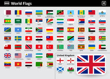 Flag icons of the world with names in alphabetical order. Set 4. Flat style. Vector illustration Royalty Free Stock Photo