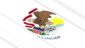 Flag of Illinois state. Waving flag of Illinois state. 3D illustration Stock Photography