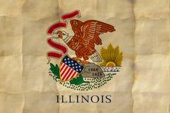 Flag of Illinois. US flag of Illinois on crumpled paper royalty free illustration