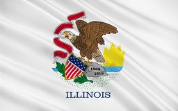 Flag of Illinois, USA. Flag of Illinois is a state in the midwestern region of the United States Stock Photos
