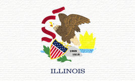 Flag of Illinois Wall. Illustration of the flag of Illinois state in America looking like it is painted on a wall Royalty Free Stock Images