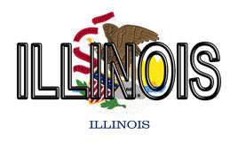 Flag of Illinois Word. Illustration of the flag of Illinois state in America with the state written on the flag Stock Images