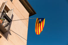 Flag of independence movement of Catalonia, Girona, Spain. Royalty Free Stock Photo