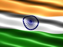 Flag of India. Computer generated illustration with silky appearance and waves Royalty Free Stock Image