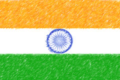 Flag of India background o texture, color pencil effect. Royalty Free Stock Photo