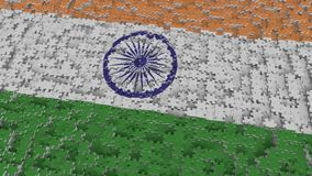 Flag of India being made with jigsaw puzzle pieces. Indian problem solution conceptual 3D rendering. Flag made of puzzle pieces, conceptual 3D royalty free illustration