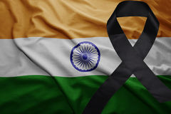 Flag of india with black mourning ribbon. Waving national flag of india with black mourning ribbon Stock Images