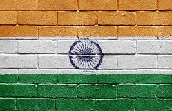 Flag of India on brick wall. Flag of India painted onto a grunge brick wall Stock Photography