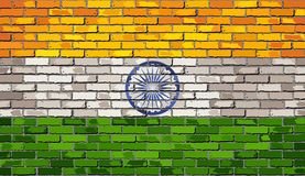 Flag of India on a brick wall. Illustration Royalty Free Stock Photos
