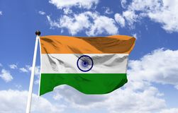 Flag of India, navy blue 24-spoke wheel. Flag of India, the colors adopted are based on the flag of the Indian National Congress, in the center there is a navy stock image