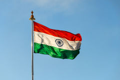 Flag of India fluttering on wind Stock Photos