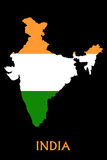 Flag of India. On the map on black background Stock Photo