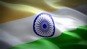 Flag of India. The National Flag of India is a horizontal rectangular tricolour of deep saffron, white and India green; with the Ashoka Chakra, a 24-spoke wheel stock footage