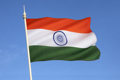 Flag of India. The National flag of India was adopted in its present form during a meeting of the Constituent Assembly held on 22 July 1947, when it became the Royalty Free Stock Photo