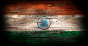 Flag of India painted on grungy wood plank background Stock Photo