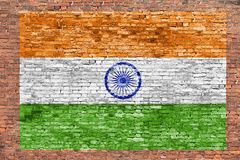 Flag of India painted over brick wall stock photography